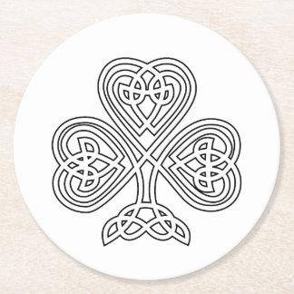 Black and White Shamrock Round Paper Coaster