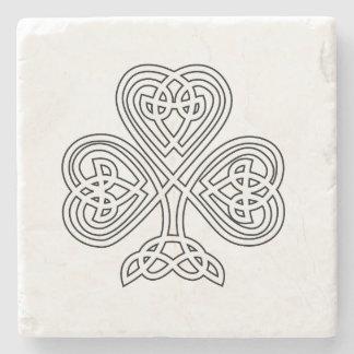 Black and White Shamrock Stone Coaster