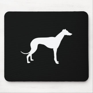 Black and White Shape of Greyhound Mouse Pad