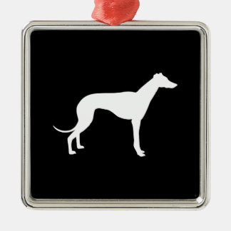 Black and White Shape of Greyhound Christmas Ornaments