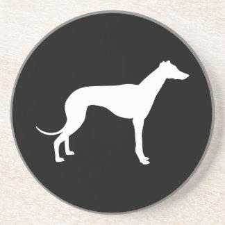 Black and White Shape of Greyhound Sandstone Coaster