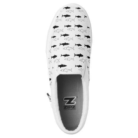 Black and White Shark Lover Slip on Shoes