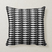 black and white shark pattern throw pillow