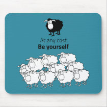 Black and white sheep mouse pad