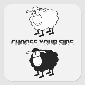 Black and white sheep square sticker