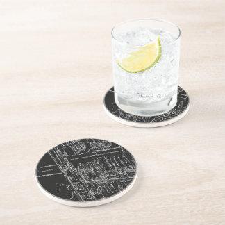 black and white shelf drawing beverage coasters