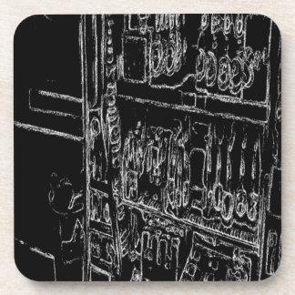 black and white shelf drawing coaster