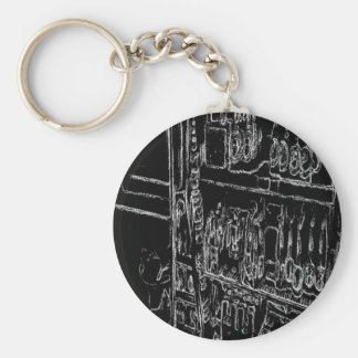 black and white shelf drawing keychains