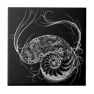 Black and White Shell Design Ceramic Tile
