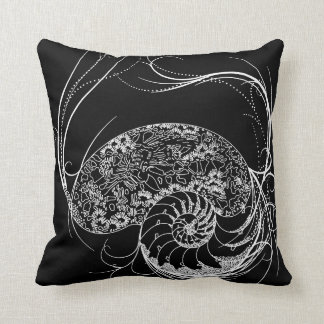 Black and White Shell Design throw pillow