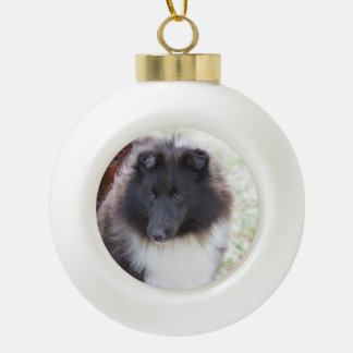 Black and White Sheltie Ceramic Ball Christmas Ornament