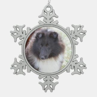 Black and White Sheltie Snowflake Pewter Christmas Ornament