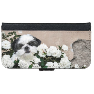 Black and white Shih Tzu in white roses Wallet Phone Case For iPhone 6/6s