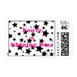 Black and White Shining Star Postage Stamp