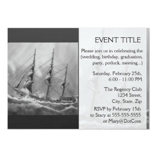 Black and White Ship Card