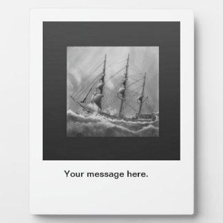Black and White Ship Plaque
