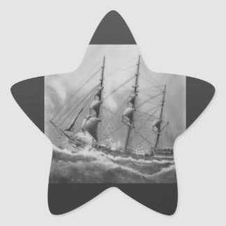 Black and White Ship Star Sticker