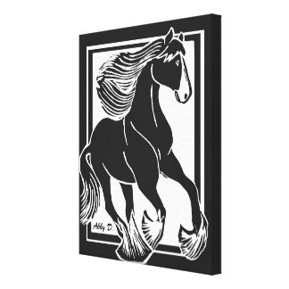 "Black and White Shire Horse 11""x14"" Wrapped Canvas"