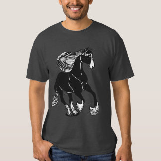 Black and White Shire Horse Men's Charcoal T-Shirt