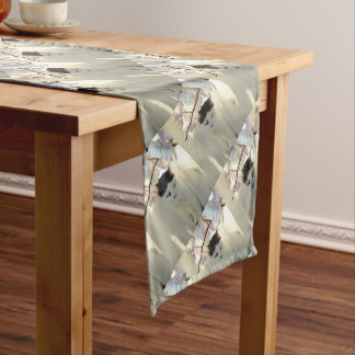 Black and White Short Hair Long Table Runner