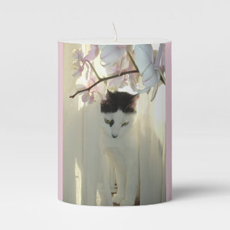 Black and White Short Hair Pillar Candle