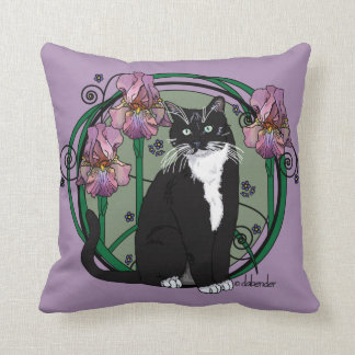 Black and White Short-Haired Cat with Irises Throw Pillow