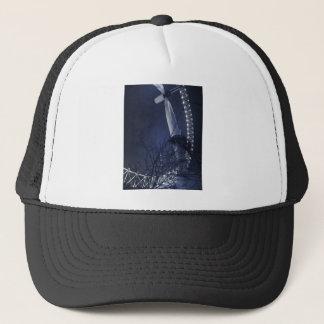 Black and white side of london eye trucker hat