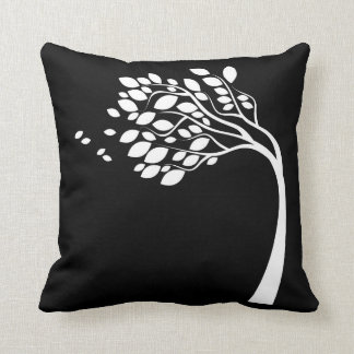 Black and White Side Swept Tree Silhouette Pillow