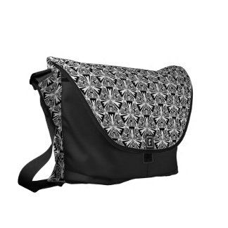 Black and White Sierpinski Triangle Messenger Bag