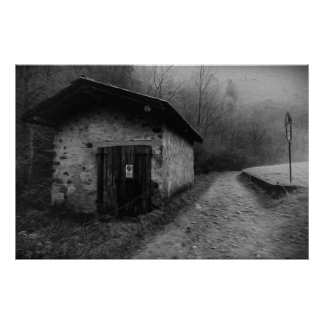 Black and White Silent Hill Oil Painting Poster