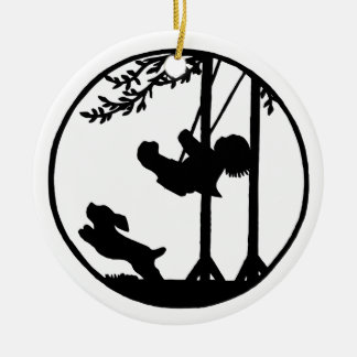 Black and white silhouette boy swing dog christmas tree ornaments