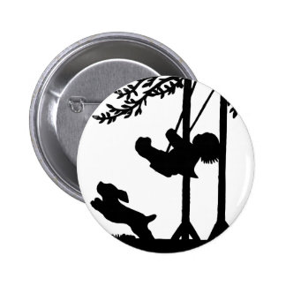Black and white silhouette, boy, swing, dog pinback button