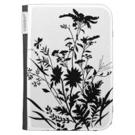 Black and White Silhouette Floral...Kindle case