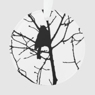 Black and White Silhouette of chickadee in a tree