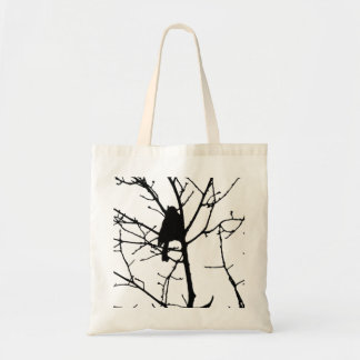 Black and White Silhouette of chickadee in a tree Canvas Bags