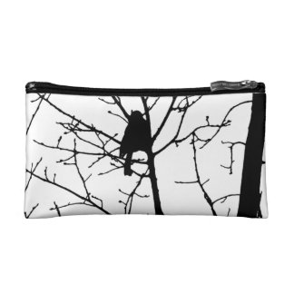 Black and White Silhouette of chickadee in a tree Cosmetic Bag