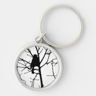 Black and White Silhouette of chickadee in a tree Key Chains