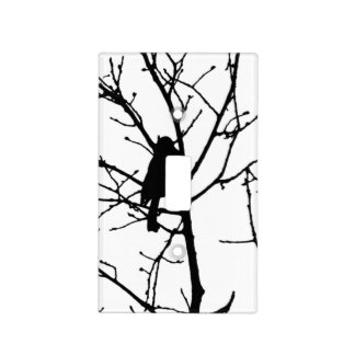 Black and White Silhouette of chickadee in a tree Light Switch Plates
