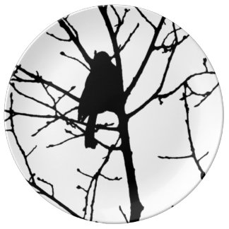 Black and White Silhouette of chickadee in a tree Porcelain Plates