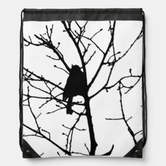 Black and White Silhouette of chickadee in a tree Cinch Bags
