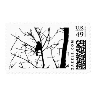 Black and White Silhouette of chickadee in a tree Stamps