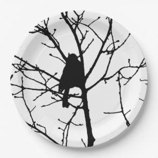 Black and White Silhouette of chickadee in a tree 9 Inch Paper Plate