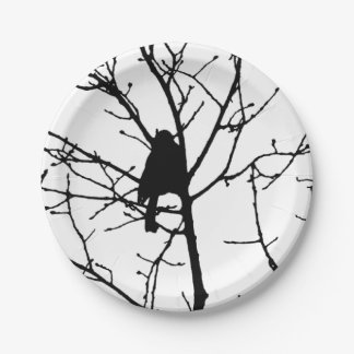 Black and White Silhouette of chickadee in a tree 7 Inch Paper Plate