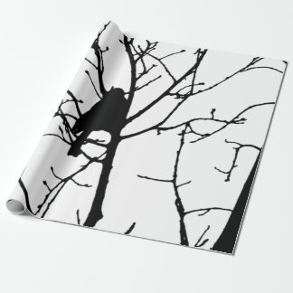Black and White Silhouette of chickadee in a tree Gift Wrap