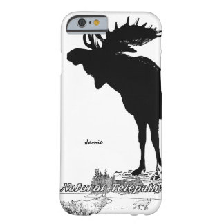Black and White Silhouette Vintage Moose Wolf Barely There iPhone 6 Case