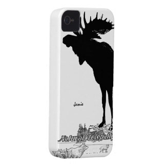 Black and White Silhouette Vintage Moose Wolf Case-Mate iPhone 4 Cases
