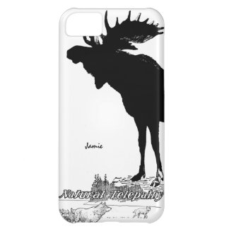 Black and White Silhouette Vintage Moose Wolf Cover For iPhone 5C