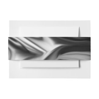 Black and White Silk Folds Invitation Belly Band