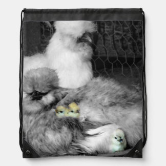 Black and White Silkie Chickens with yellow Chicks Drawstring Bag
