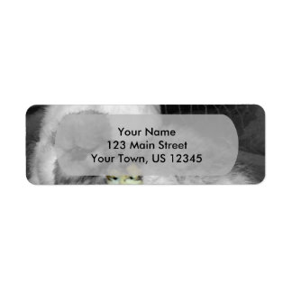 Black and White Silkie Chickens with yellow Chicks Return Address Label